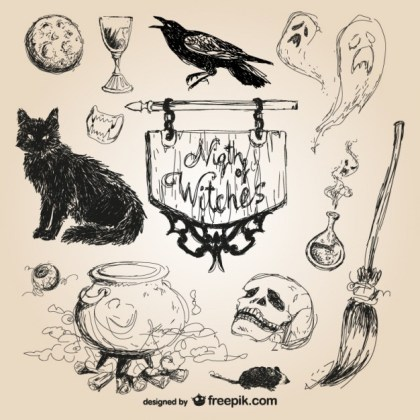 Halloween Hand Drawn Elements Free Vector