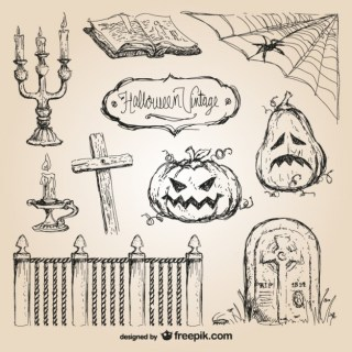 Halloween Hand Drawn Free Vector