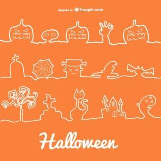 Halloween Line Decoration Icons Free Vector