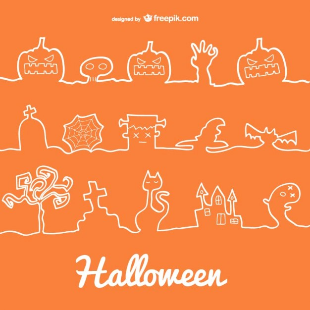 Halloween Line Decoration Icons Free Vector
