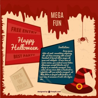 Halloween Party Card Invitation Free Vector