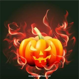 Halloween Pumpkin with Flames Free Vector