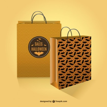 Halloween Sales Shopping Bags Free Vector