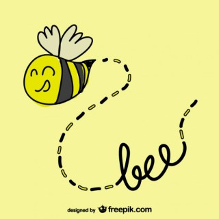 Hand Drawn Bee Flying Free Vector