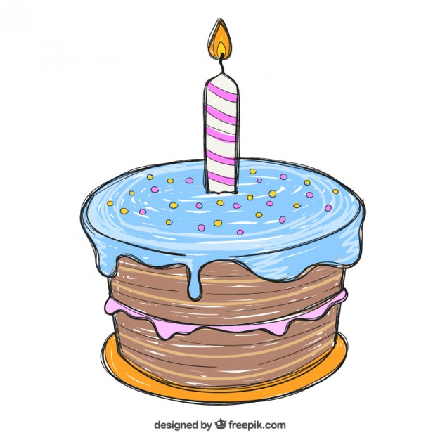 Hand Drawn Birthday Cake Free Vector