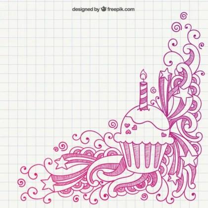 Hand Drawn Birthday Muffin Free Vector