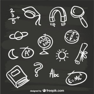 Hand-Drawn Blackboard Elements Free Vector