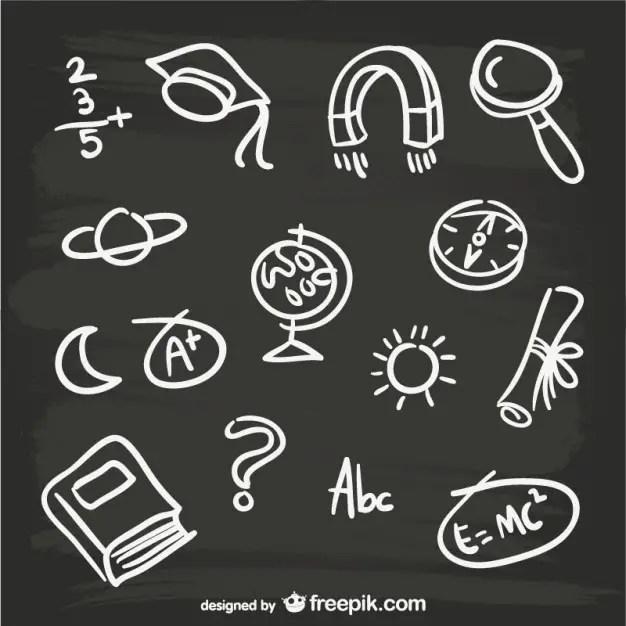 Hand-Drawn Blackboard Elements Free Vector