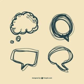 Hand Drawn Bubble Speech Set Free Vector