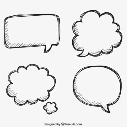 Hand Drawn Bubbles Speech Free Vector