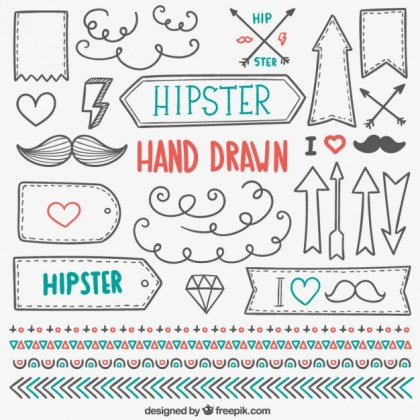 Hand Drawn Hipster Elements Free Vector