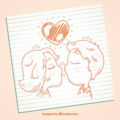 Hand Drawn Kissing Couple Free Vector
