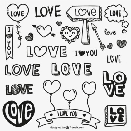 Hand Drawn Love Ornaments Free Vector