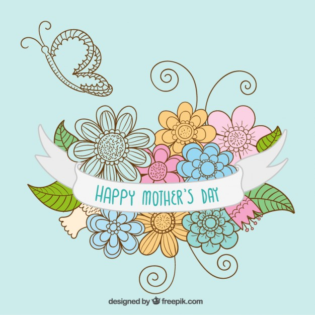 Hand Drawn Mothers Day Card Free Vector