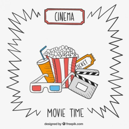 Hand Drawn Movie Time Free Vector