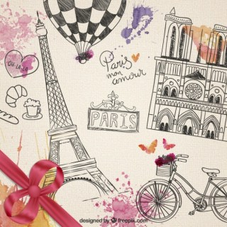 Hand Drawn Parisian Elements Free Vector