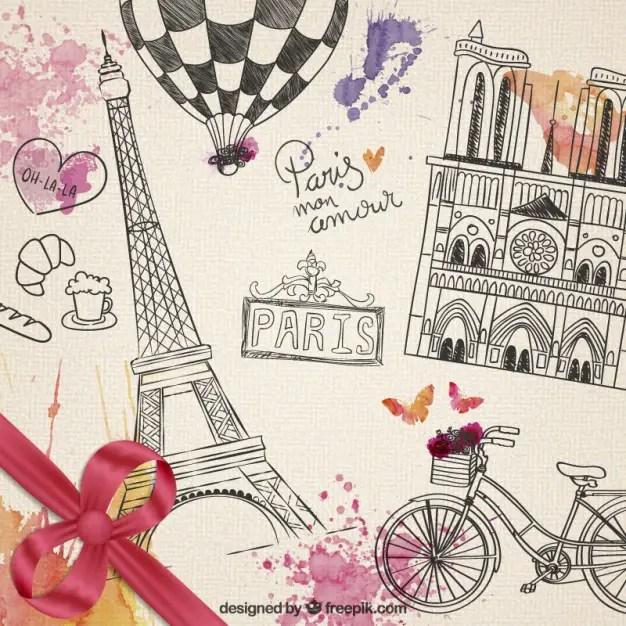 Hand Drawn Parisian Elements Free Vector