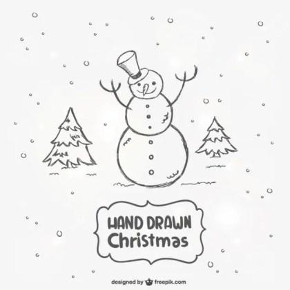 Hand Drawn Snowman Free Vector