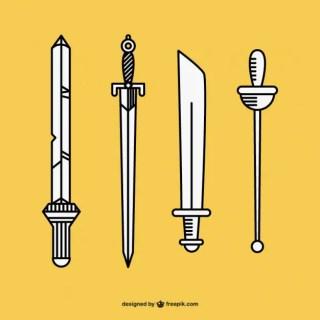 Hand Drawn Swords Free Vector