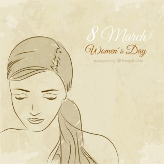 Hand Drawn Woman Face for Womens Day Free Vector