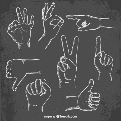 Hand Gestures Collection Free Vector