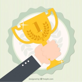 Hand Holding Winner Cup Free Vector