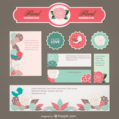 Hand Painted Flowers Cover Material Free Vector