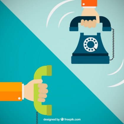 Hands Holding Telephones Free Vector