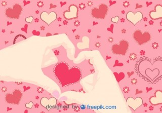 Hands in Heart Shape Free Vector