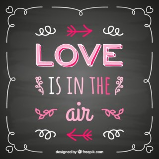 Handwritten Love Quote on Blackboard Free Vector