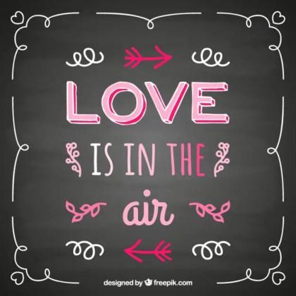 Handwritten Love Quote on Blackboard Free Vector