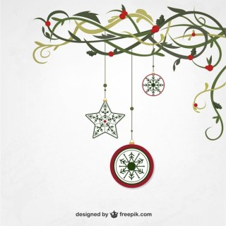 Hanging Christmas Ornaments Free Vector