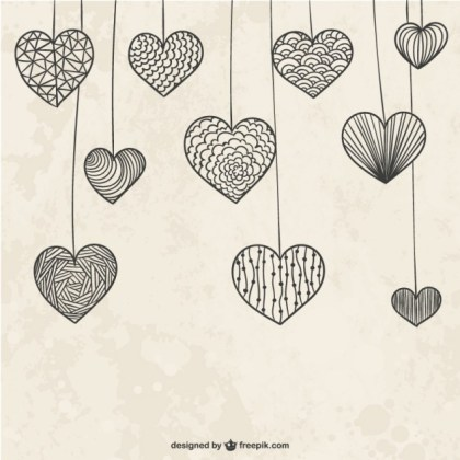 Hanging Doodle Hearts Free Vector