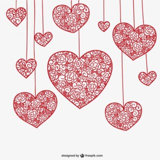 Hanging Floral Hearts Free Vector