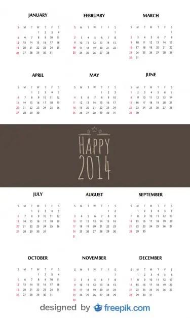 Happy 2014 Calendar Free Vector