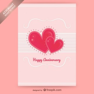 Happy Anniversary Card with Hearts Free Vector