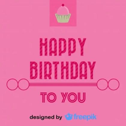 Happy Birthday Cupcake Postcard Vintage Style Free Vector