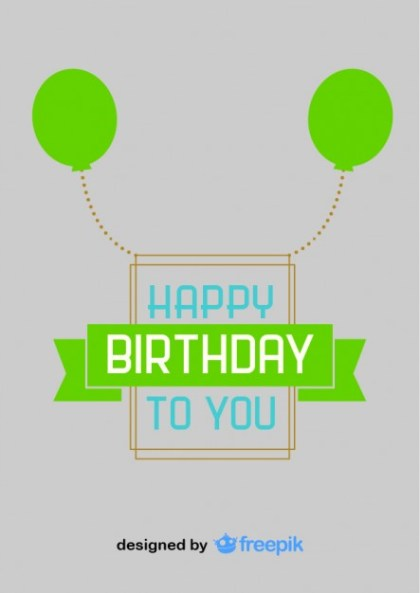 Happy Birthday Green Balloons Postcard Vintage Style Free Vector