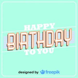 Happy Birthday Retro Card Free Vector