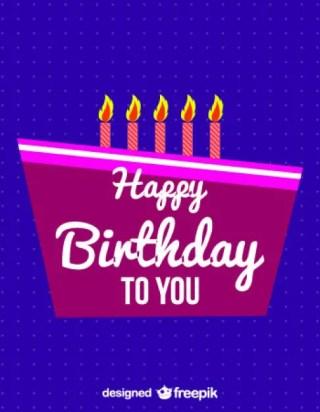 Happy Birthday Retro Sweet Card Free Vector