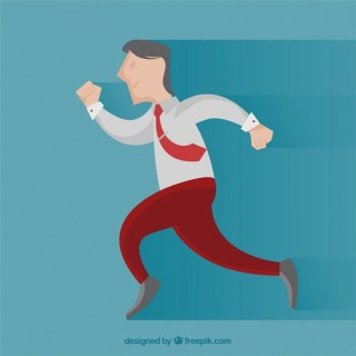 Happy Businessman Running Free Vector