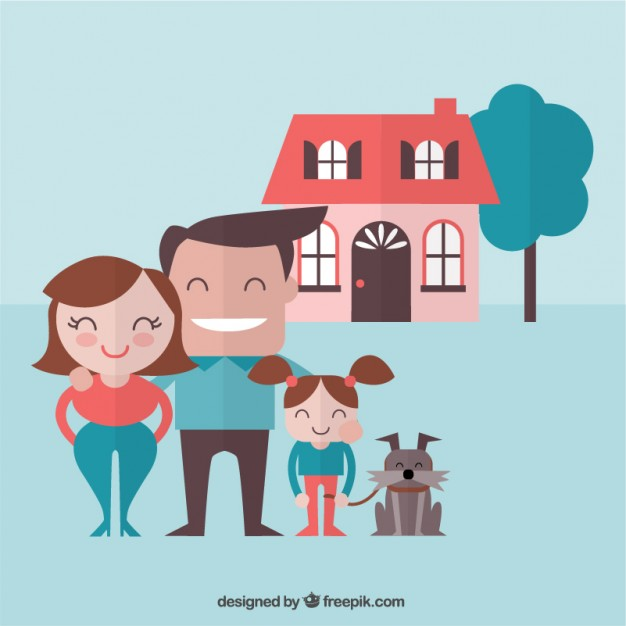 Happy Family with a Dog Free Vector