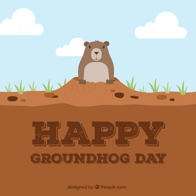 Happy Groundhog Day Free Vector