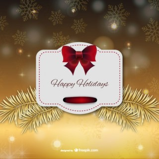 Happy Holidays Christmas Label Free Vector