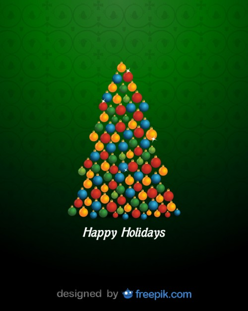 Happy Holidays with a Christmas Tree Done with Brilliant Christmas Balls Free Vector