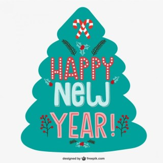 Happy New Year Card with Christmas Tree Free Vector