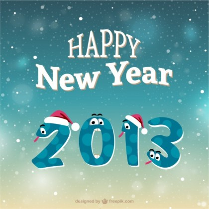 Happy New Year Cartoon Snakes Free Vector