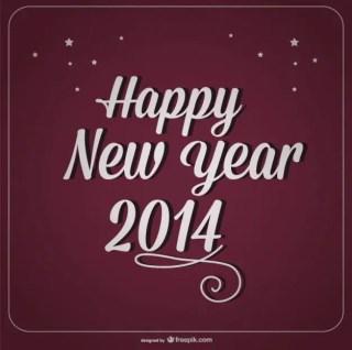 Happy New Year Retro Burgundy Card Design Free Vector