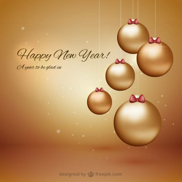 Happy New Year with Baubles Free Vector