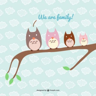 Happy Owl Family Free Vector